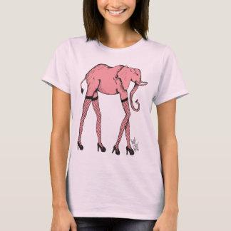 ホースの女性の上のピンクのPachyderm Tシャツ