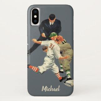 ホームベースで安全なヴィンテージのスポーツの野球選手 iPhone X ケース