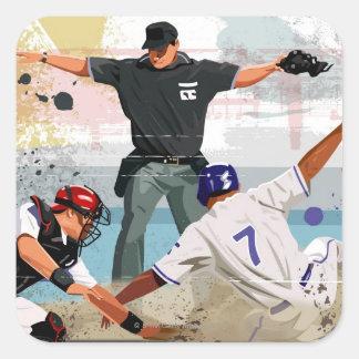 ホームベースの野球選手の金庫 スクエアシール