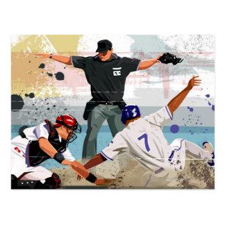ホームベースの野球選手の金庫 ポストカード