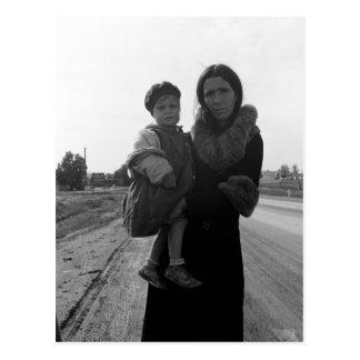 ホームレスの母および児童の1939年 ポストカード