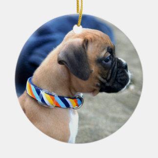 ボクサーの子犬のオーナメント 陶器製丸型オーナメント