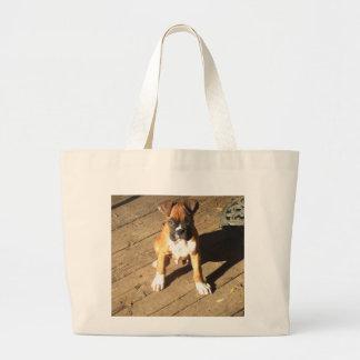 ボクサーの子犬の戦闘状況表示板のbagq ラージトートバッグ