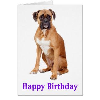 ボクサーの小犬のハッピーバースデーカード-詩 グリーティングカード