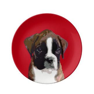 ボクサーの小犬 磁器プレート