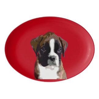 ボクサーの小犬 磁器大皿
