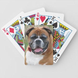 ボクサー犬のかわいく美しい写真のポートレート、ギフト バイスクルトランプ