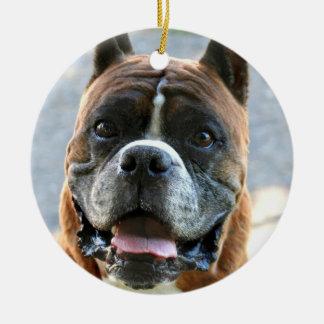 ボクサー犬のオーナメント 陶器製丸型オーナメント