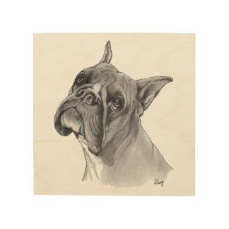 ボクサー犬のポートレート ウッドウォールアート