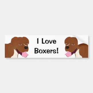 ボクサー犬の微笑のデジタルポートレート バンパーステッカー