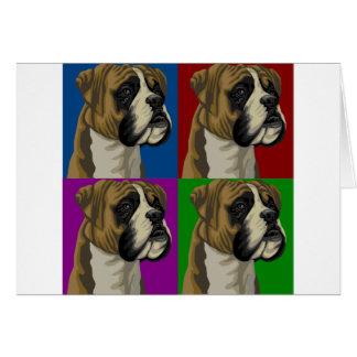 ボクサー犬の暗い第一次コラージュ グリーティングカード