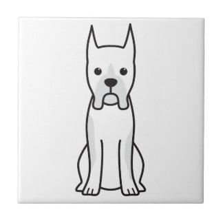 ボクサー犬の漫画 正方形タイル小