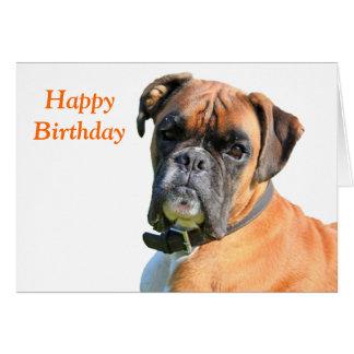 ボクサー犬の美しい写真のハッピーバースデーカード グリーティングカード
