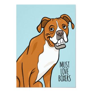 """""""ボクサー""""の愛さなければなりません漫画のボクサー犬は5"""" x 7"""" 12.7 x 17.8 インビテーションカード"""