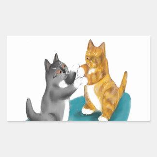 ボクシングのデュオ- 2人の子ネコの兄弟姉妹 長方形シール