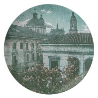 ボゴタの歴史的な中心の植民地建築 プレート