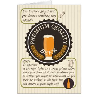 ボスのためのおもしろいな父の日レトロビールラベル グリーティングカード