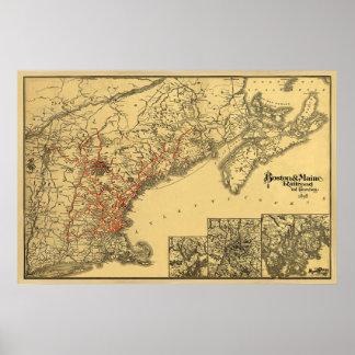 ボストンおよびメインの鉄道地図1898年 ポスター