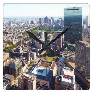 ボストンの空中写真 スクエア壁時計