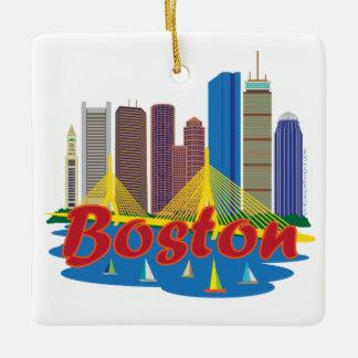 ボストンスカイラインの正方形のオーナメント セラミックオーナメント