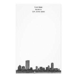 ボストンスカイラインは01文房具をエッチングしました 便箋