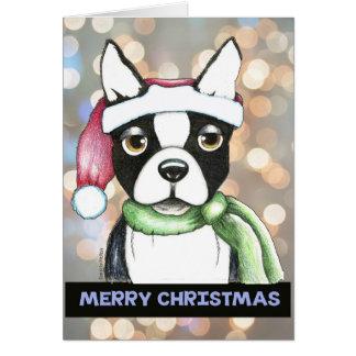 ボストンテリアのクリスマスカード カード