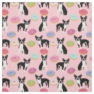 ボストンテリアのドーナツ-かわいい犬の生地 ファブリック