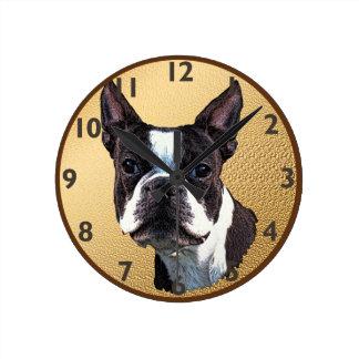 ボストンテリアのポートレート ラウンド壁時計