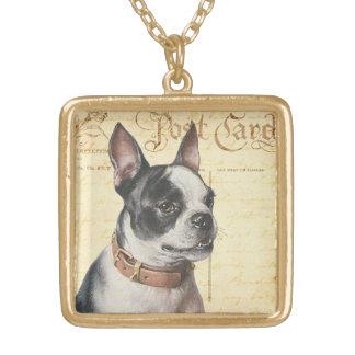 ボストンテリアのヴィンテージ犬のポートレートボストンBull ゴールドプレートネックレス