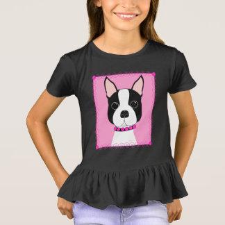ボストンテリアの女の子のひだのワイシャツ Tシャツ