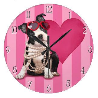 ボストンテリアの子犬 ラージ壁時計