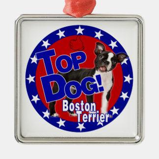 ボストンテリアの最高権力者のロゴ メタルオーナメント