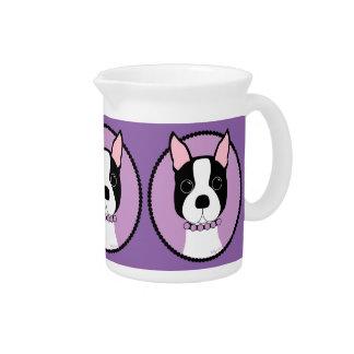 ボストンテリアの紫色 ピッチャー