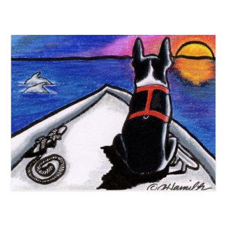 ボストンテリアの航海のなボートの日没の以外鎖Art™ ポストカード