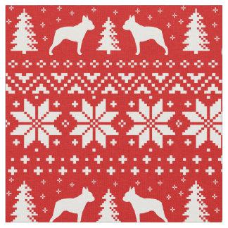 ボストンテリアはクリスマスパターンのシルエットを描きます ファブリック