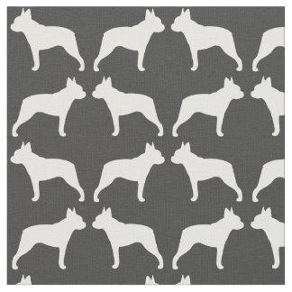 ボストンテリアはパターンのシルエットを描きます ファブリック