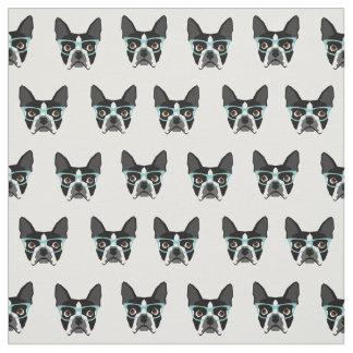 ボストンテリアガラス-かわいい犬の生地 ファブリック