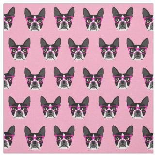 ボストンテリアガラス-ピンクの生地 ファブリック
