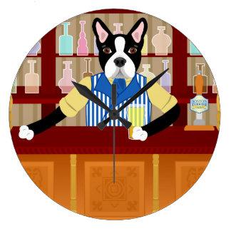 ボストンテリアビールパブ ラージ壁時計