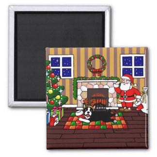 ボストンテリア及びサンタのクリスマスの漫画3 マグネット