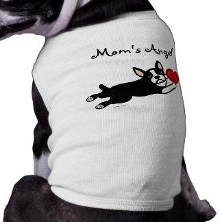 ボストンテリア及び赤いハートの漫画 犬用袖なしタンクトップ
