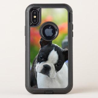 ボストンテリア犬のかわいい子犬の動物のヘッド写真 -- オッターボックスディフェンダーiPhone X ケース