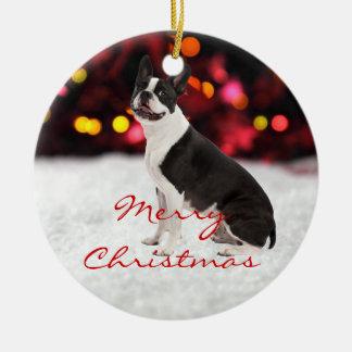 ボストンテリア犬のカスタムなクリスマスツリーのオーナメント セラミックオーナメント