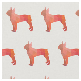ボストンテリア犬のシルエットは生地をタイルを張りました ファブリック