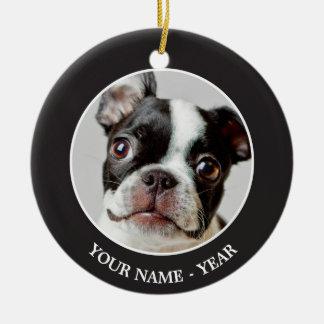 ボストンテリア犬の子犬 セラミックオーナメント