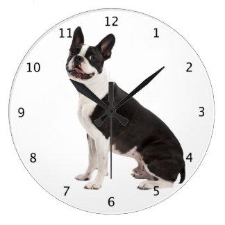 ボストンテリア犬の美しい写真の柱時計のギフト ラージ壁時計