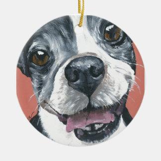ボストンテリア犬の芸術 セラミックオーナメント
