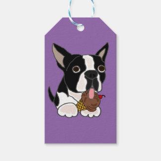 ボストンテリア犬の食べ物のアイスクリーム ギフトタグ