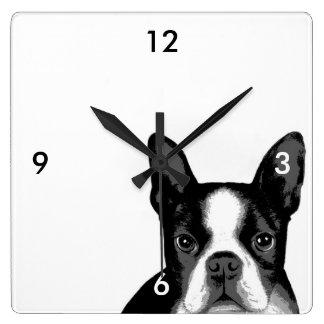 ボストンテリア犬 スクエア壁時計