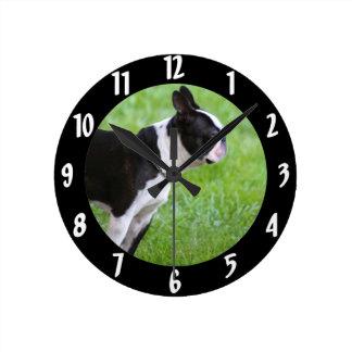 ボストンテリア犬 ラウンド壁時計